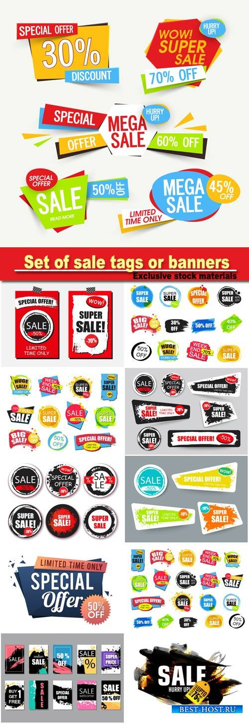 Set of sale tags or banners