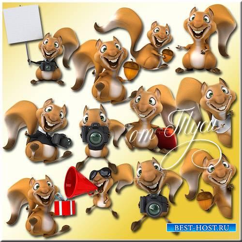 Весёлые белки - Детский клипарт