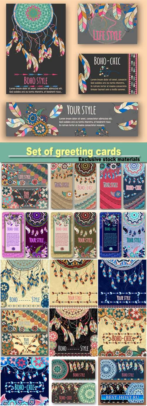 Set of greeting cards, boho style, traditional, ethnic patterns