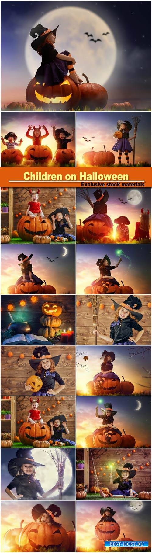 Children and pumpkins on Halloween