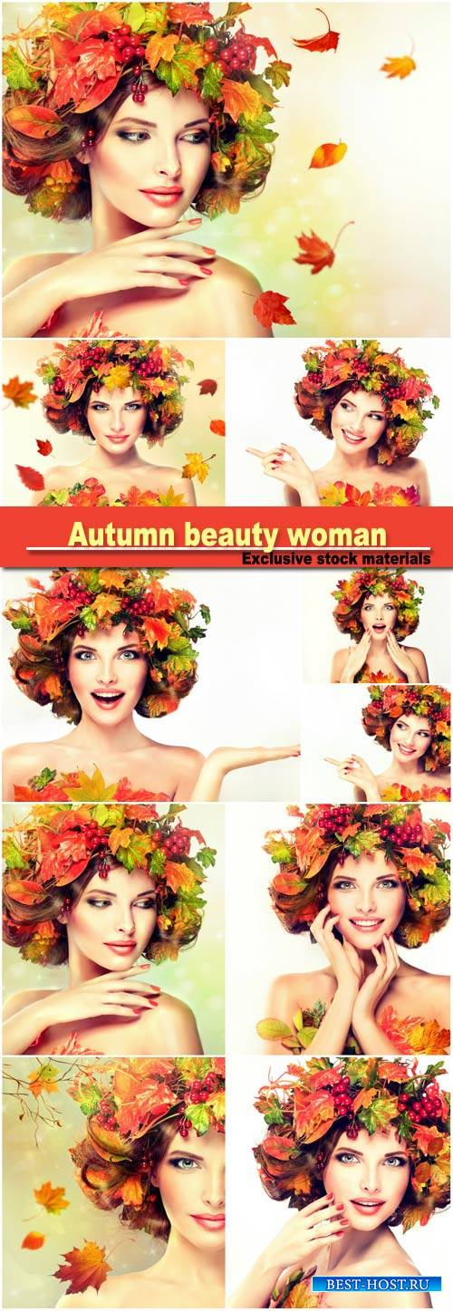 Autumn beauty woman fashion makeup with red and yellow autumn leaves