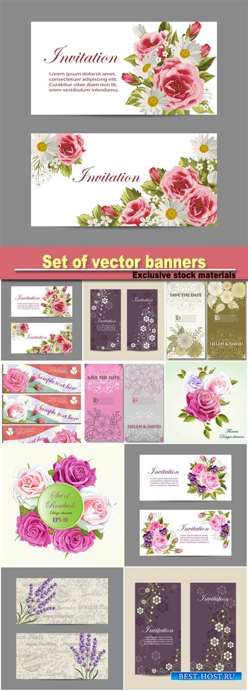 Set of vector banners, beautiful compositions with pink roses and lavender  ...