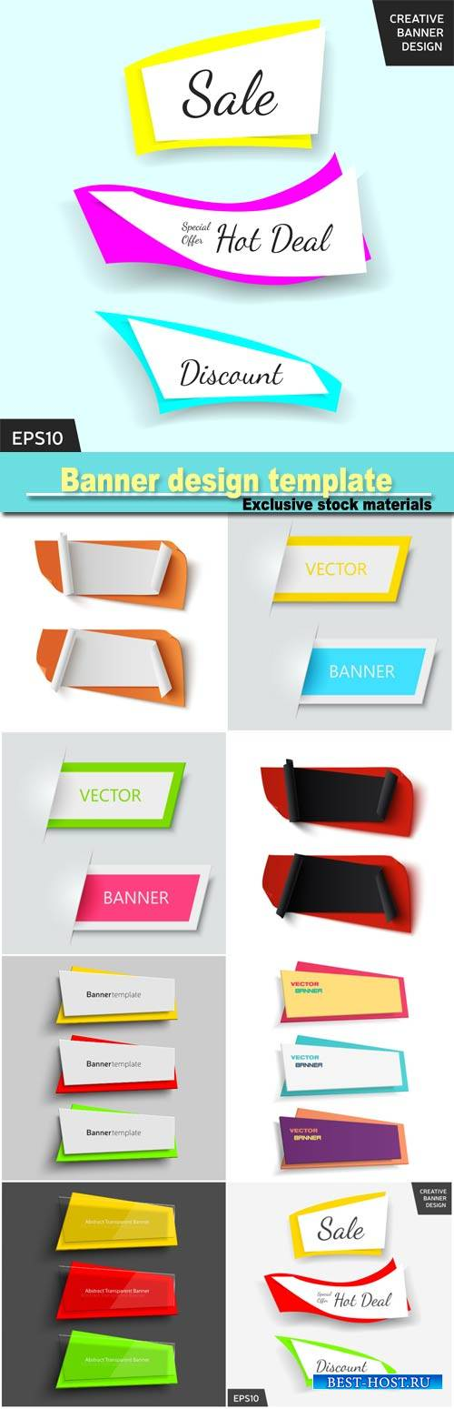 Banner design template, set colorful banners, elements for web design