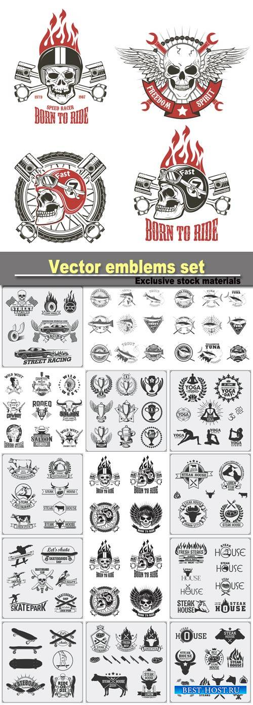 Vector emblems set, design elements