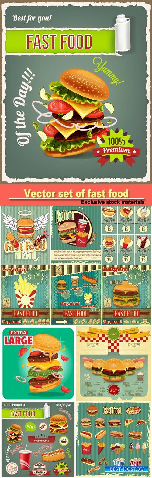 Vector set of fast food