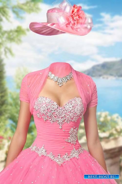 Женский фотошоп шаблон - Бальное платье с драгоценностями
