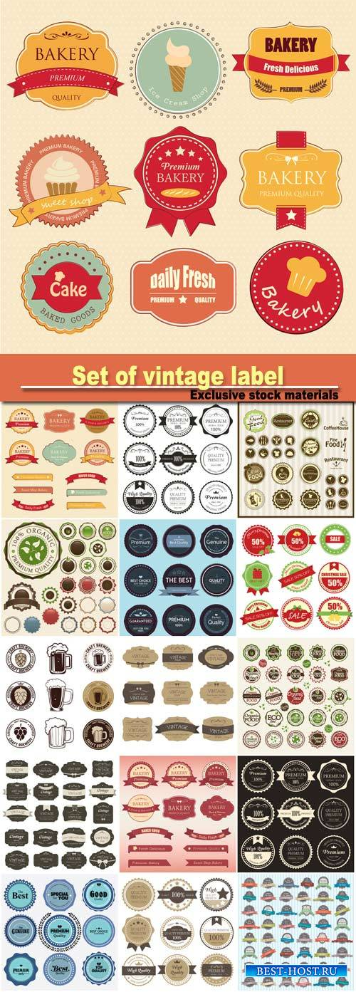 Set of vintage label color old design, set of retro badges