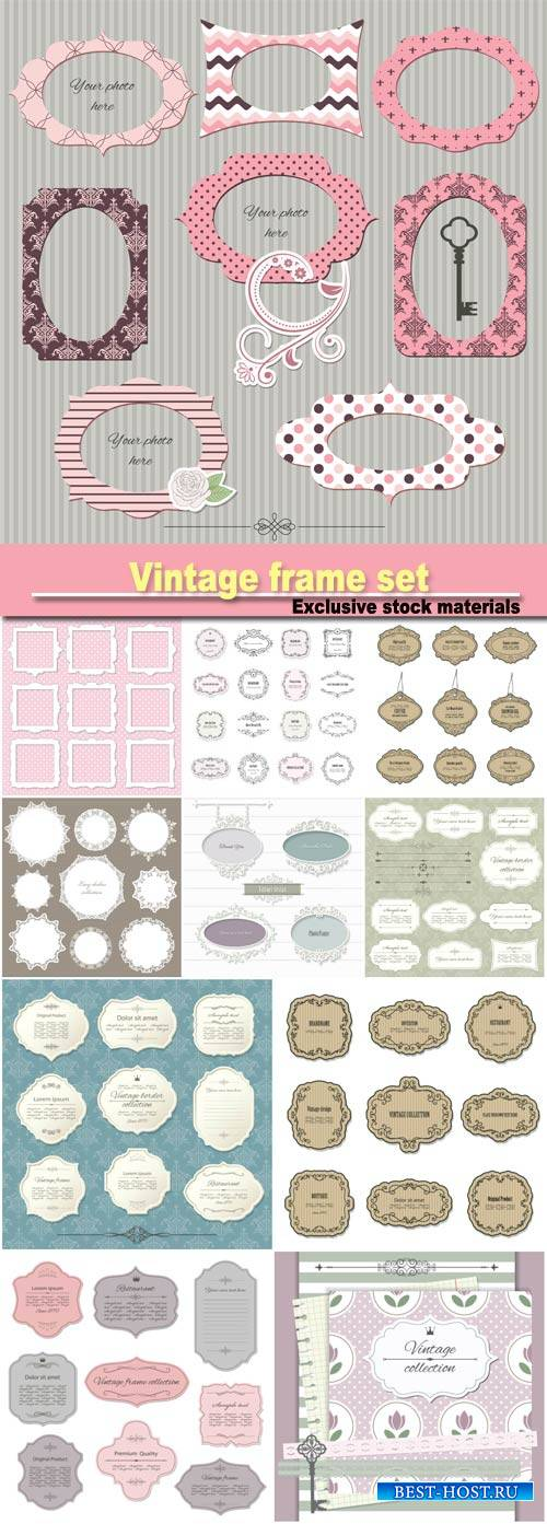Vintage  set on damask background, calligraphic design elements