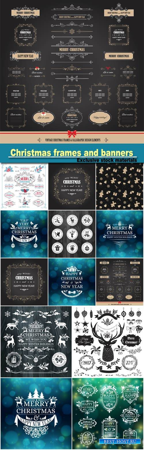 Vintage Christmas and Happy New Year  and banners