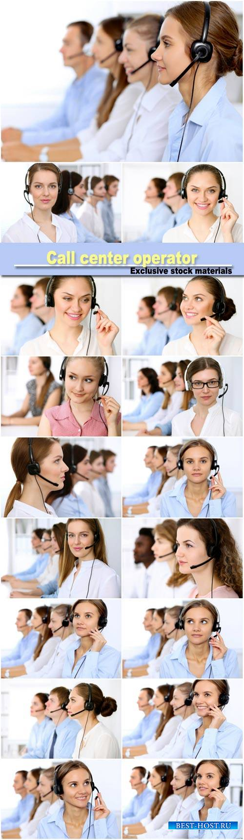 Young beautiful business woman in headset, сall center operator