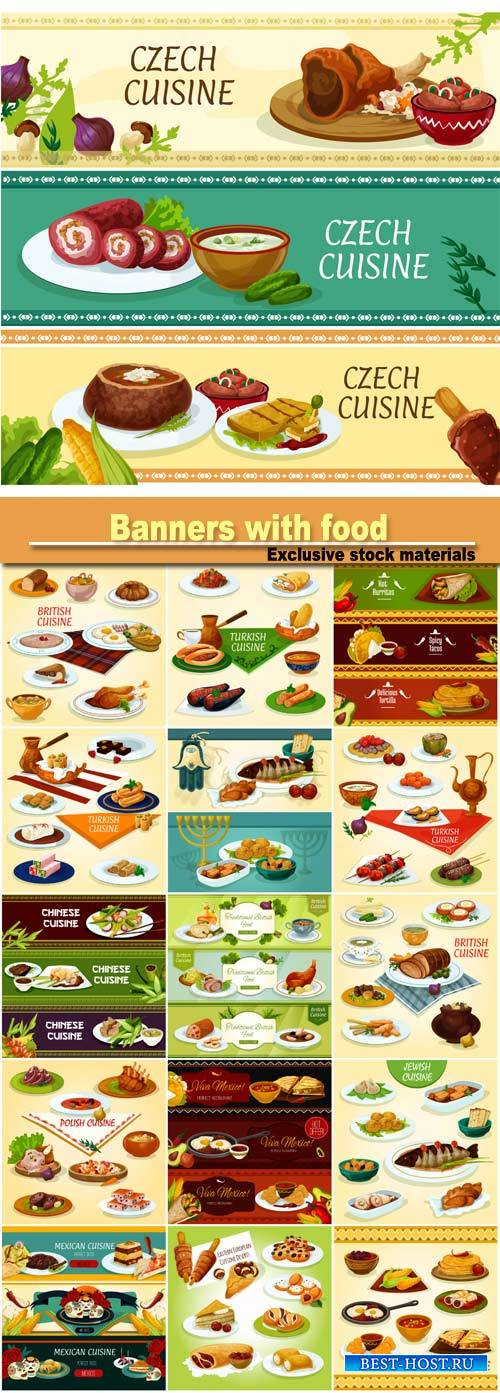 Vector cuisine banners with food