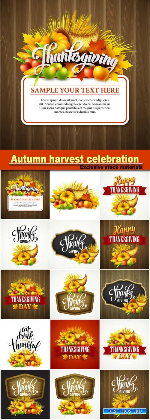 Thanksgiving cornucopia full of harvest fruits and vegetables, autumn harvest celebration, pumpkin and leaves