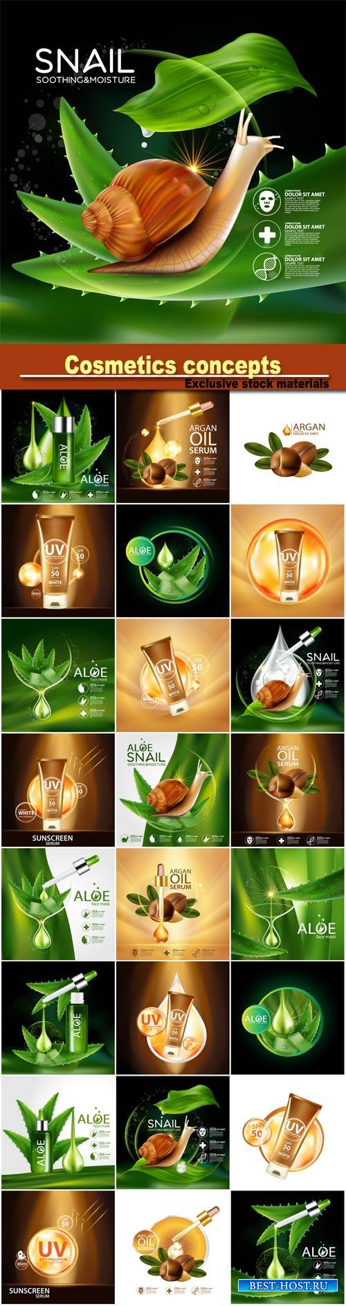 Cosmetics concepts, argan oil serum, aloe snail soothing and moisture