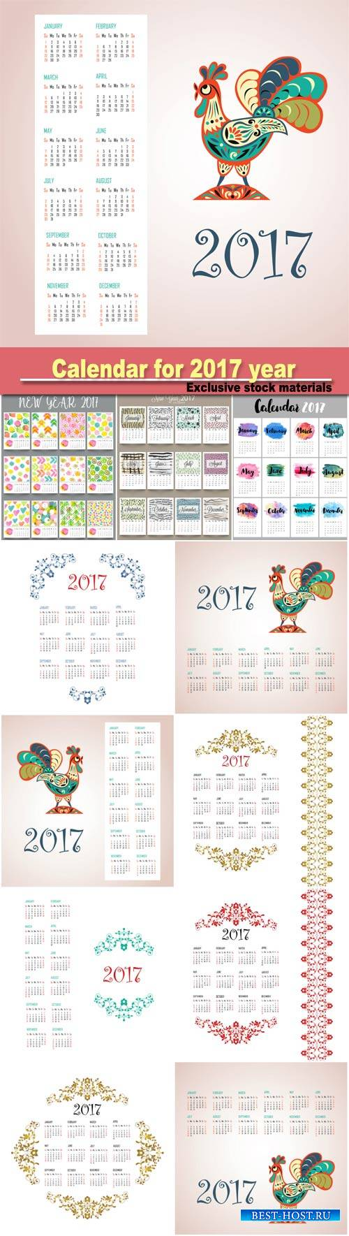 Calendar design for New Year 2017