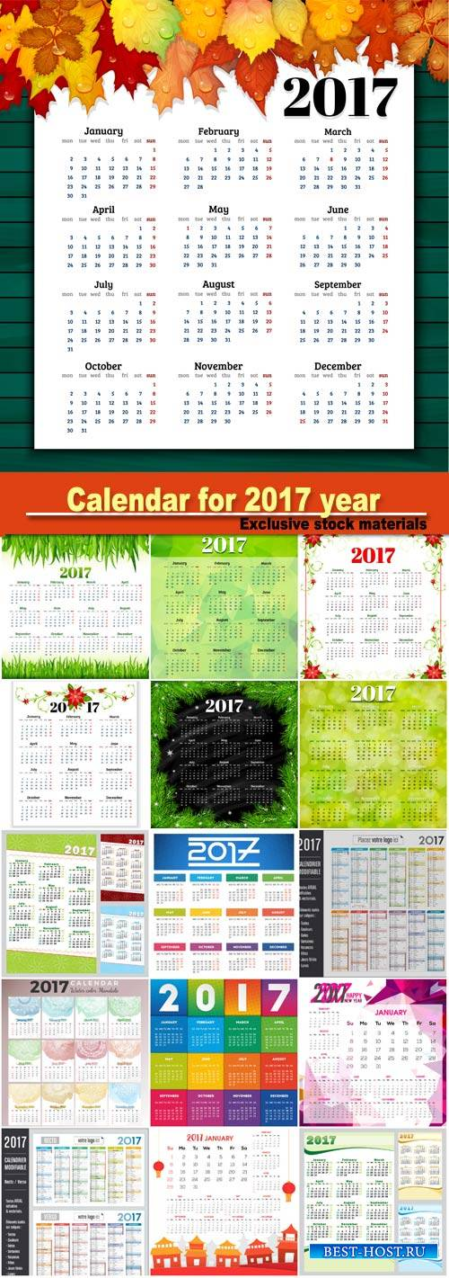 Calendar for 2017 year with colorful background vector