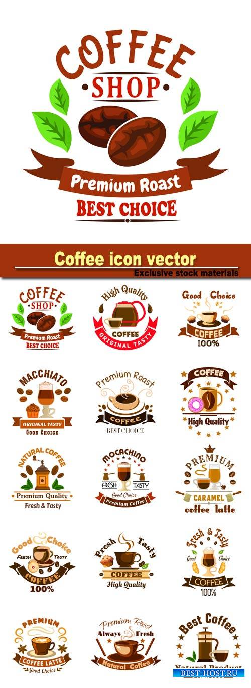 Coffee icon, vector sign for cafeteria, cafe signboard, menu