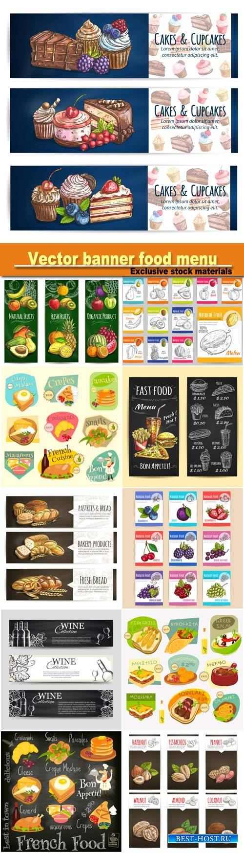 Vector banner food menu, cafe leaflet, pastry shop signboard