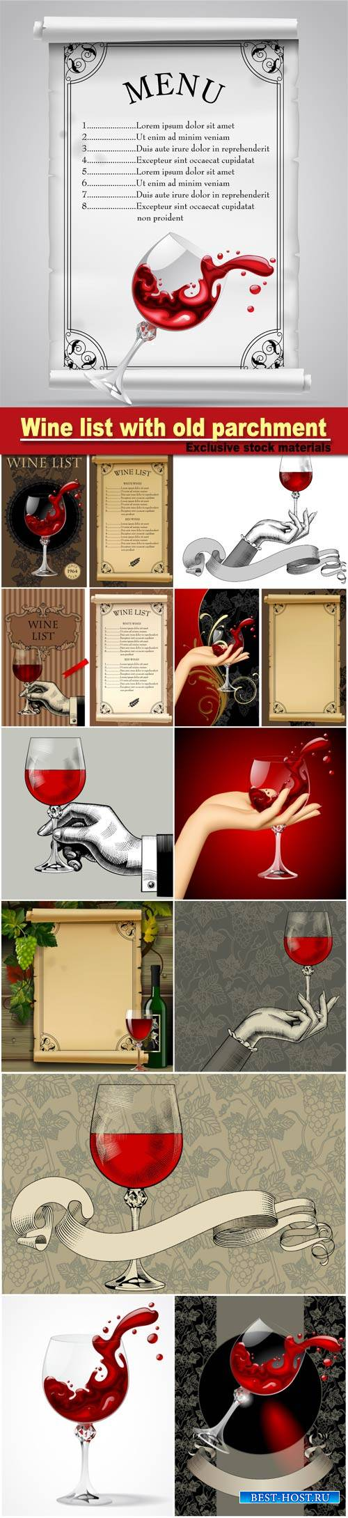 Wine list with old parchment, grapes, bottle and wineglass with splashed wi ...