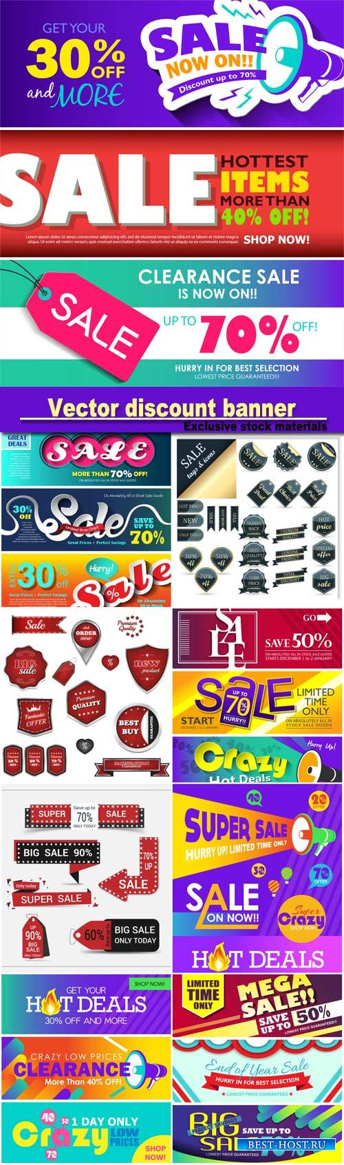 Sale tags and icons, vector discount banner