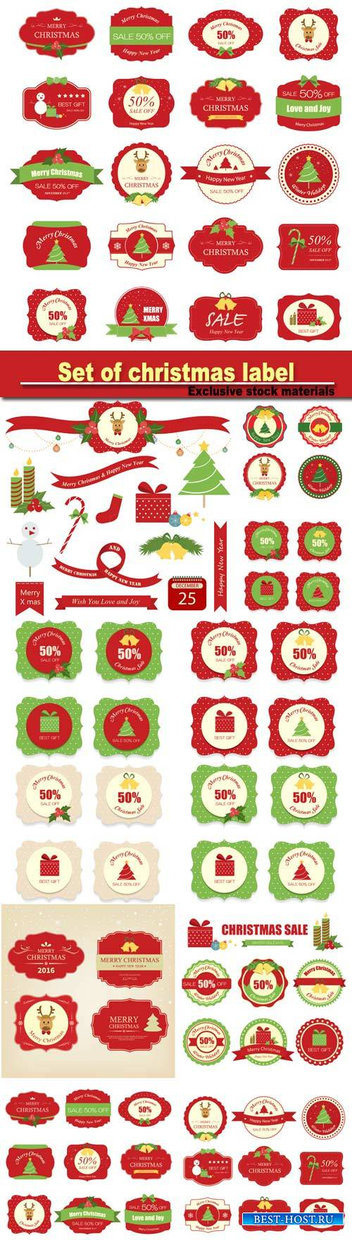 Set of christmas label and background, christmas tag, sign and symbol