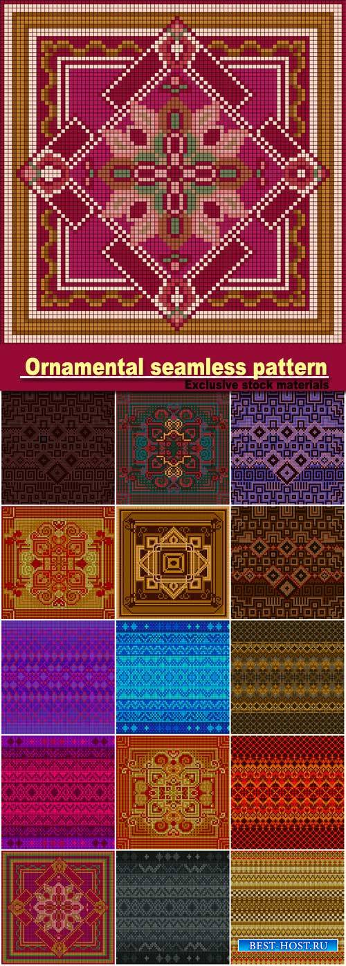 Ornamental seamless pattern, ethnic ornament, fabric pattern