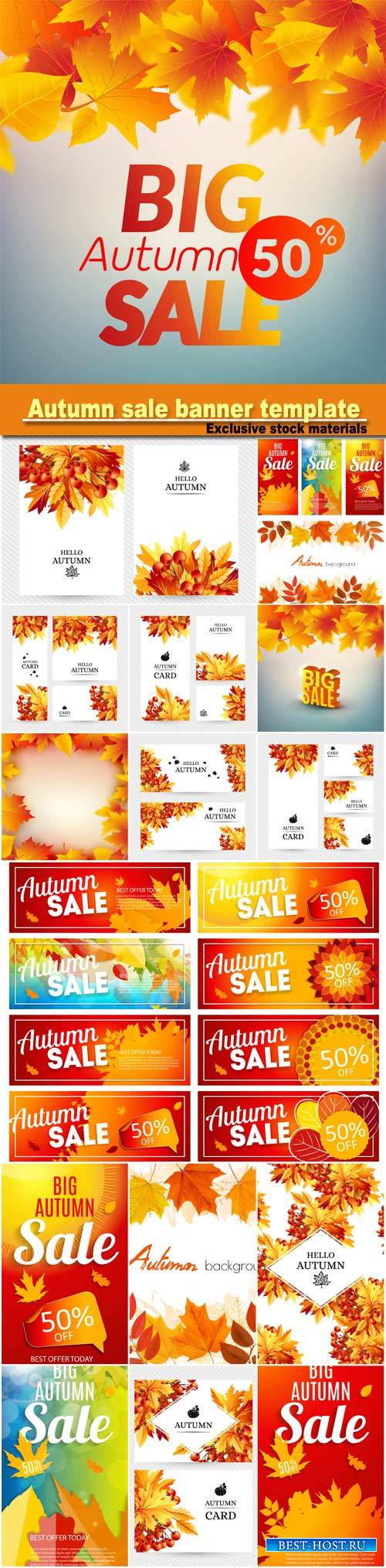 Autumn sale banner template set, business discount card