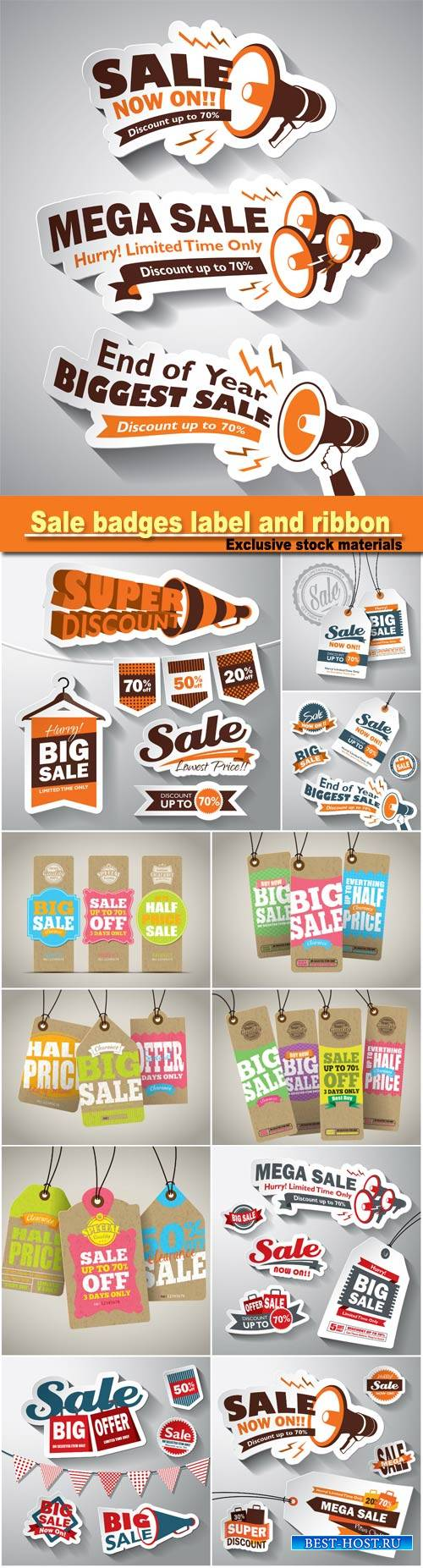 Set sale badges label and ribbon, vector tag illustration