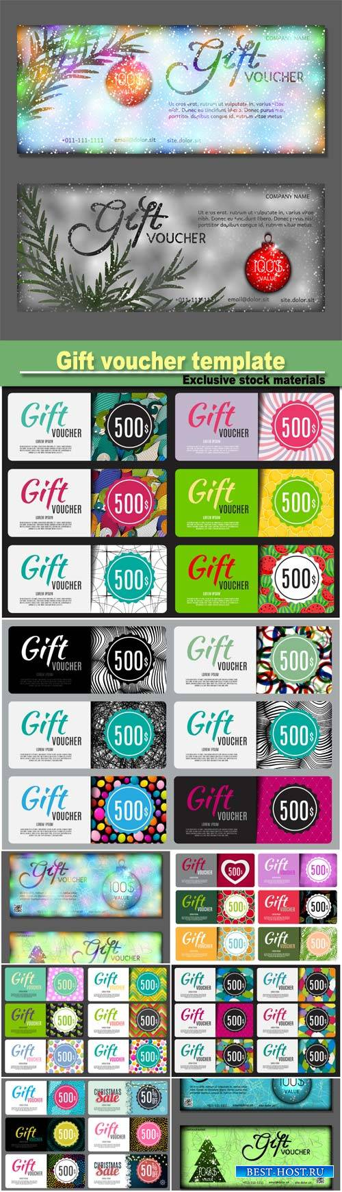 Gift voucher template, vector illustration for your business