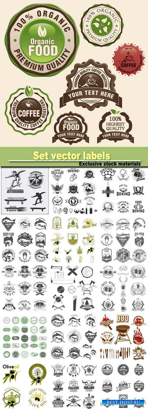 Set vector labels, emblems and design elements