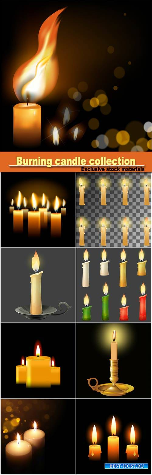 Burning candle collection, different colors, vector illustration