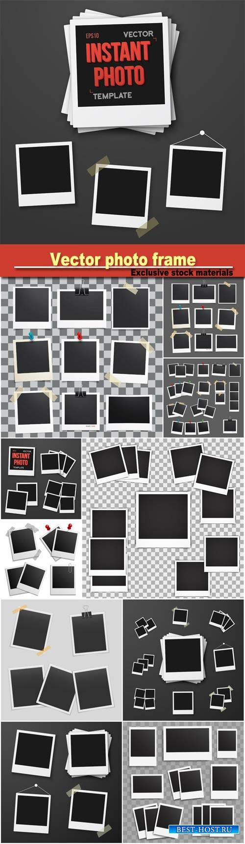 Vector photo set of realistic paper photograph, template photo design