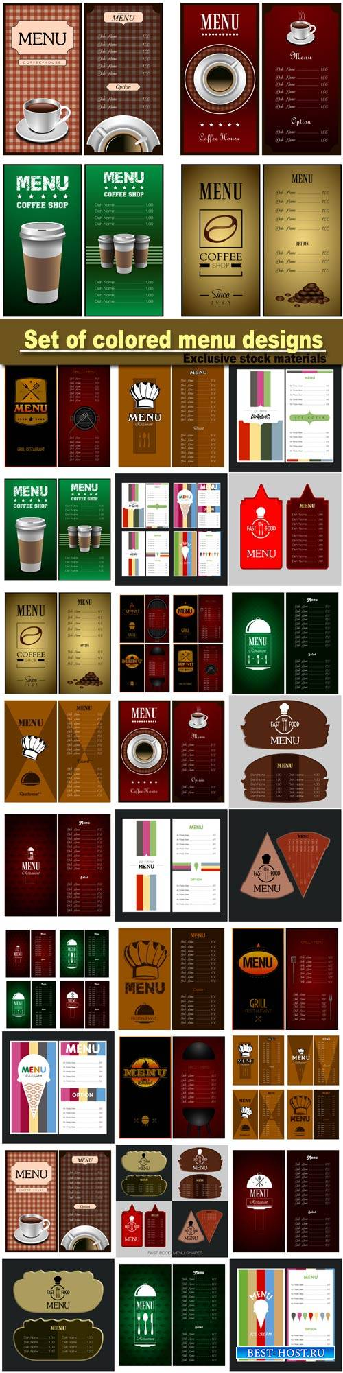 Set of colored menu designs, vector illustration