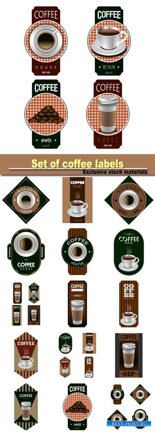 Set of coffee labels on a white background, vector illustration