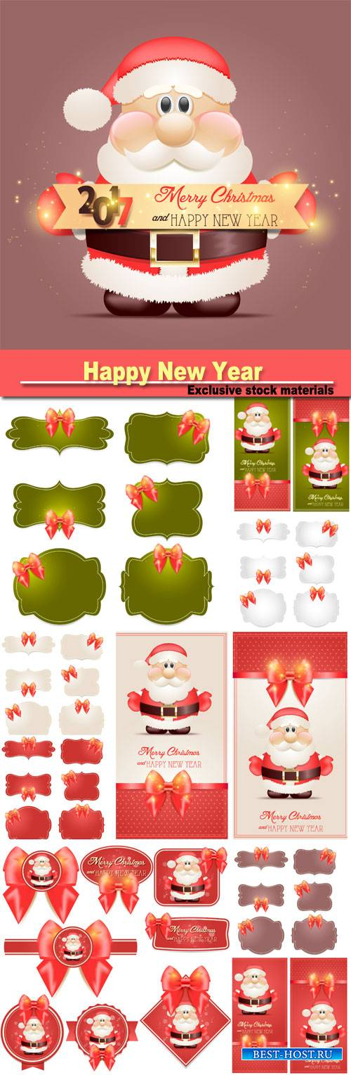 Happy New Year 2017 greeting card, vector labels with Santa