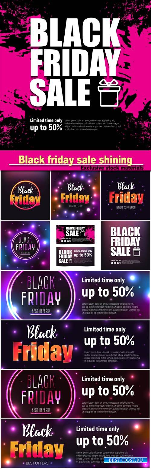 Black friday sale shining, sale and discount, business banner, vector illus ...