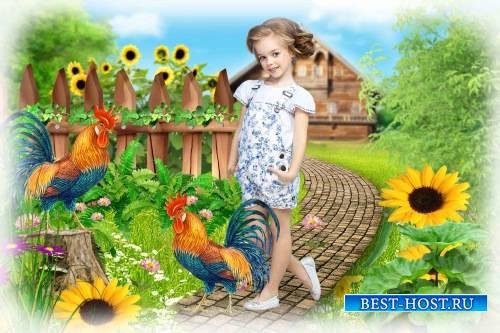 Коллаж для фотошопа – Деревенский с петухами