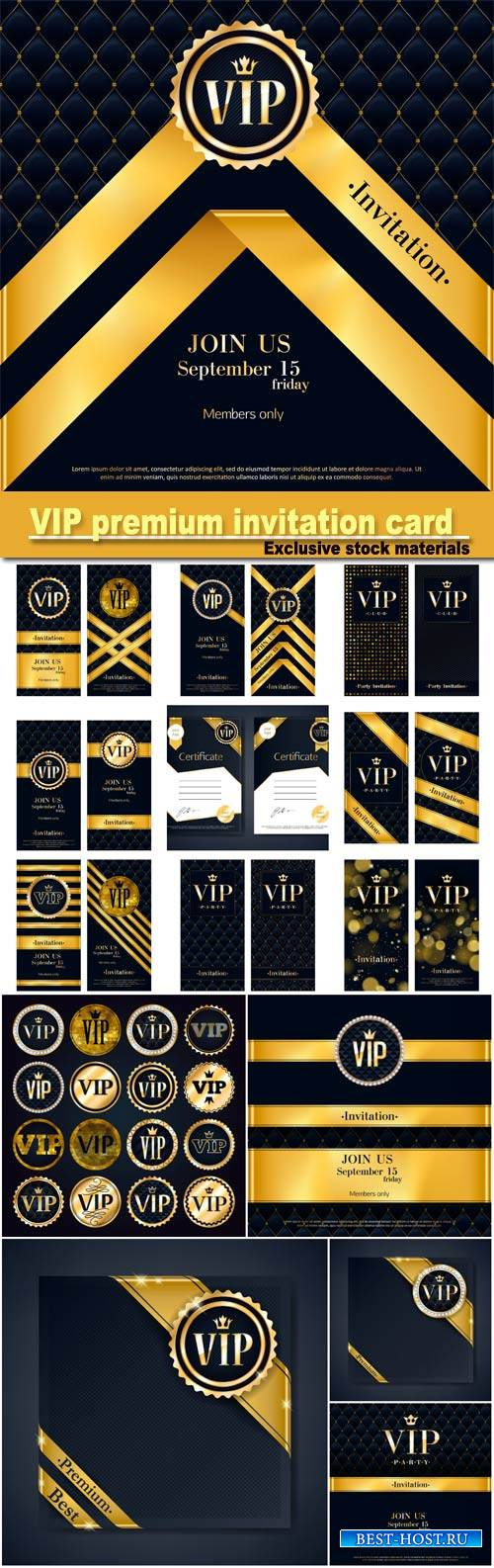 VIP party premium invitation card poster flyers set, black and golden desig ...