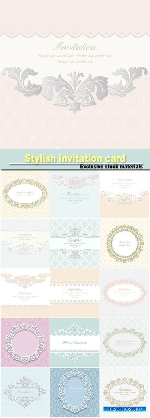 Baroque ornate with place for text, stylish invitation card