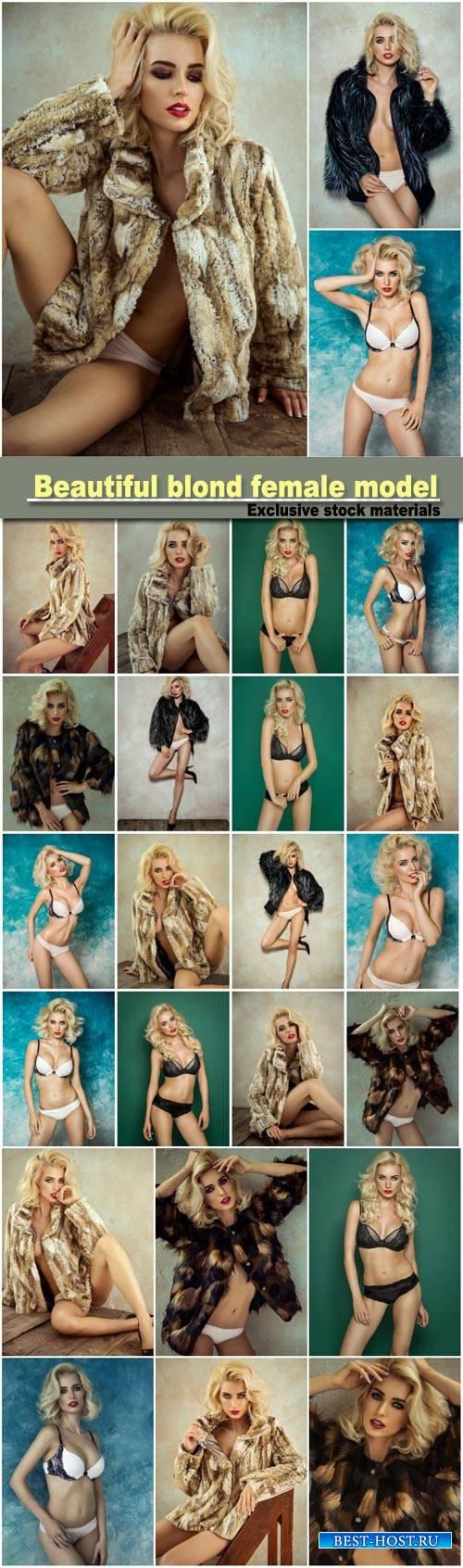 Beautiful blond female model wear fur, sexy female model posing in lingerie