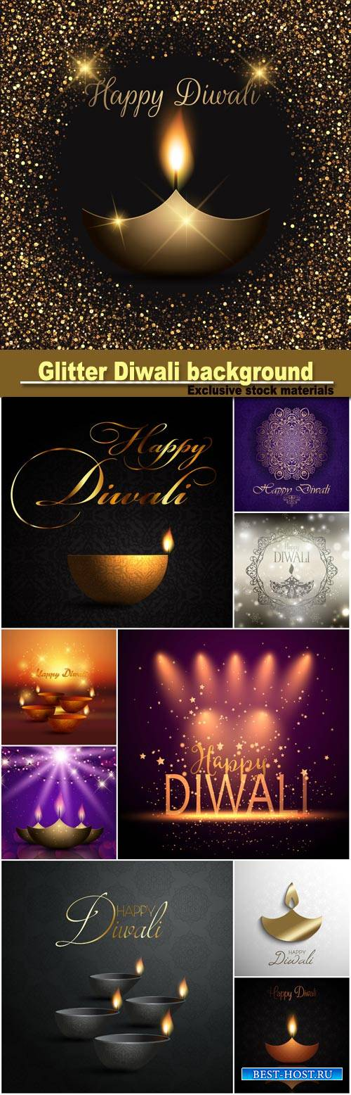 Glitter Diwali celebration background