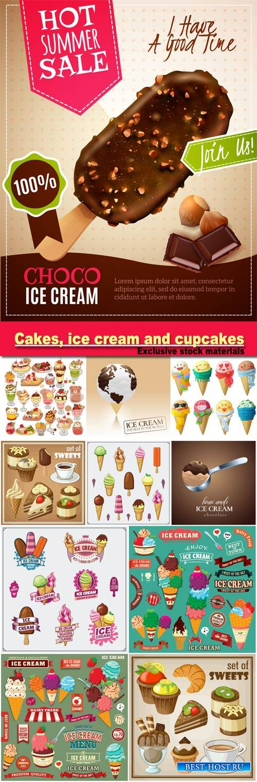 Vector set of sweets and cakes, ice cream and cupcakes