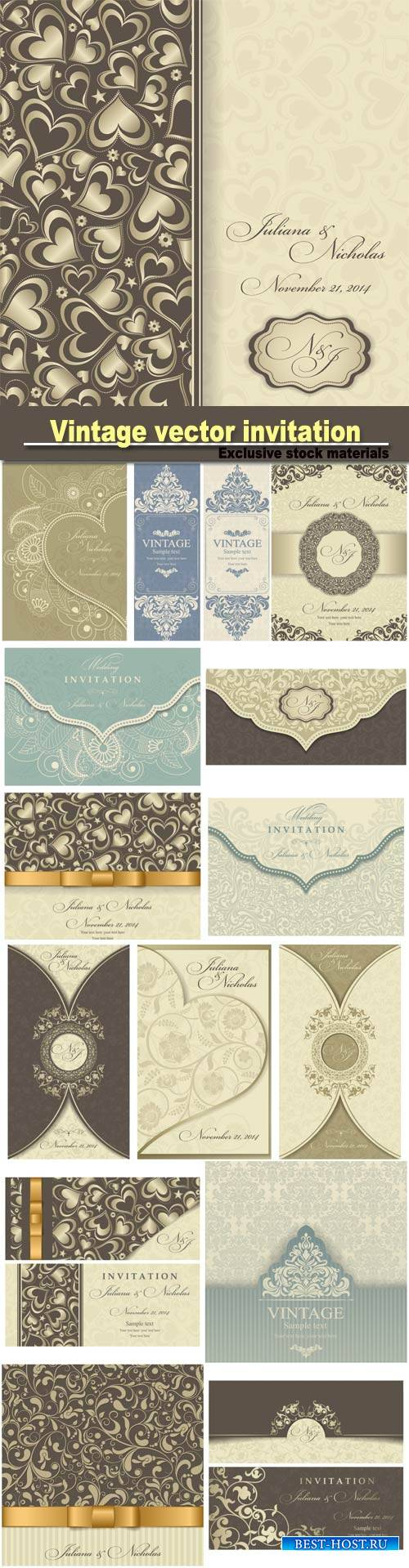 Vintage vector invitation with patterns, envelopes