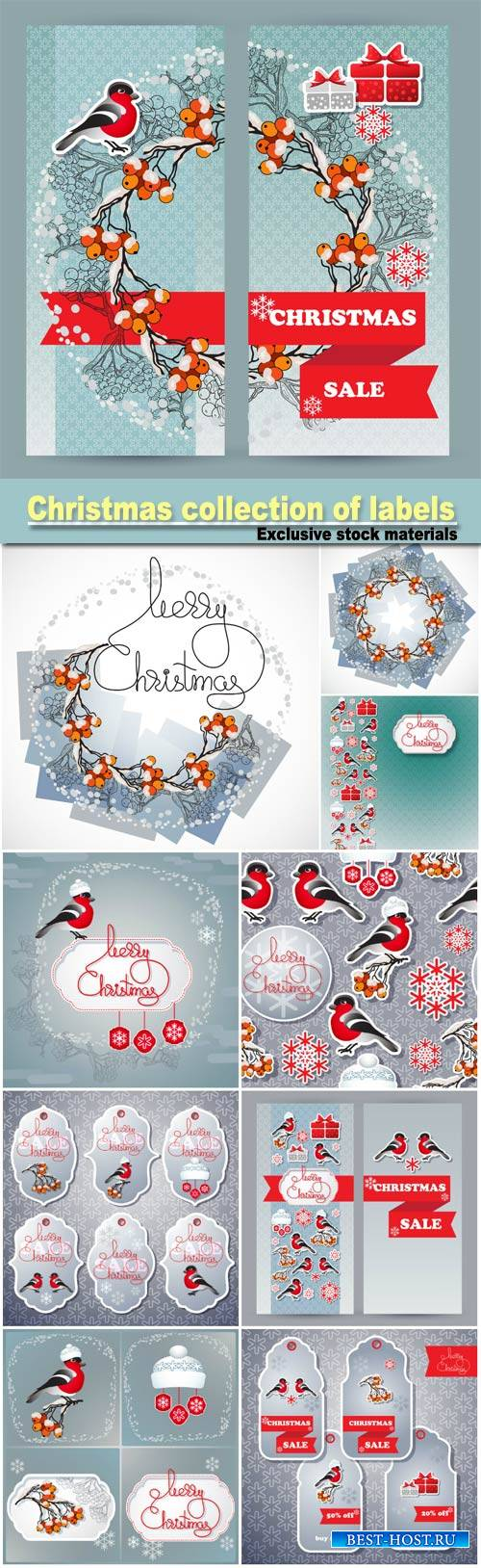 Christmas collection of labels and cards, sale stickers with winter emblem