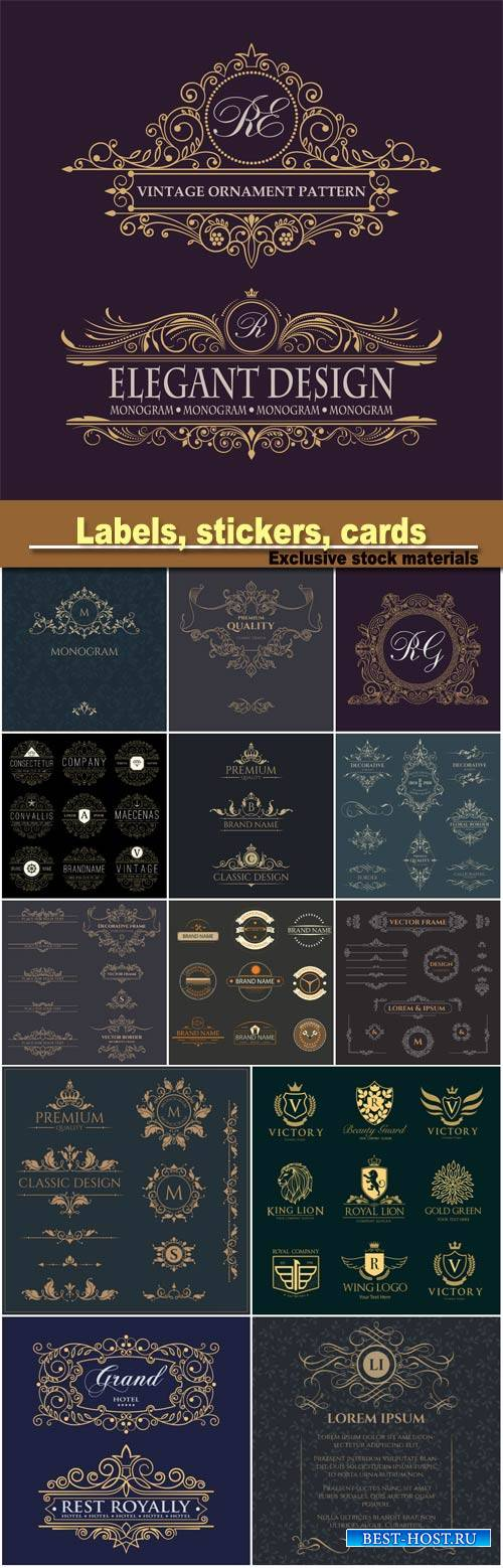 Decorative vector template signage, logos, labels, stickers, cards