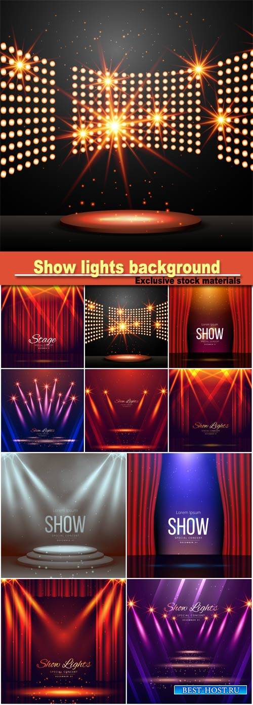 Podium with lights and shining stars, show lights enterance background