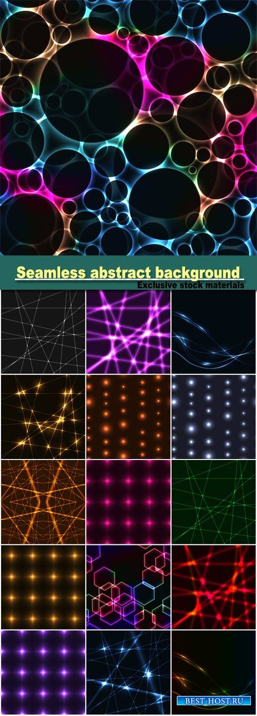 Seamless abstract background from gold Laser beams, colorful spectrum hexag ...
