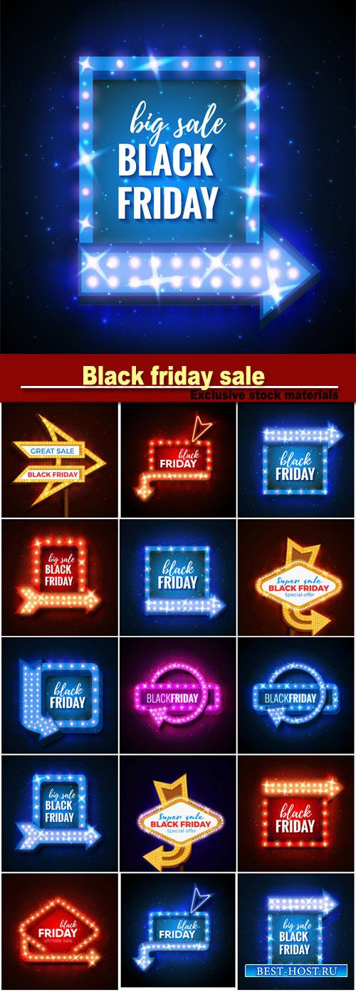 Black friday sale, neon signs vector