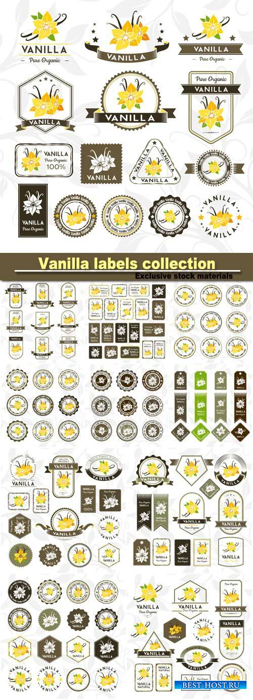 Vanilla labels, stamps and badges collection