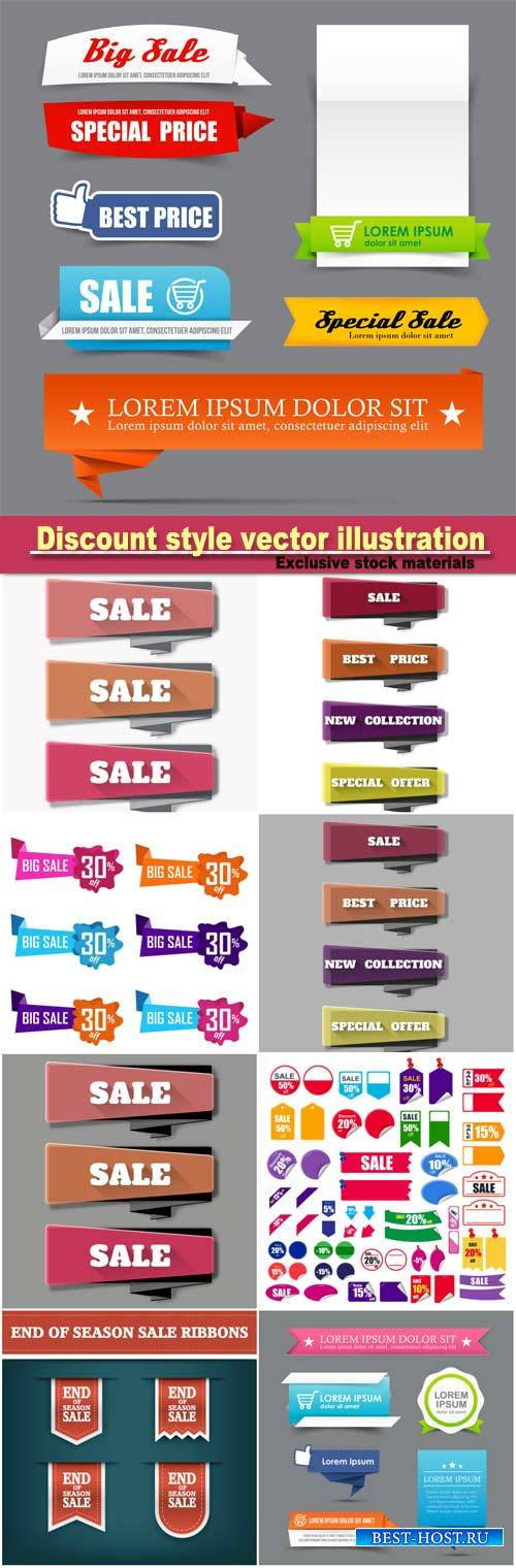 Collection of colorful web tag banner promotion sale discount style vector  ...