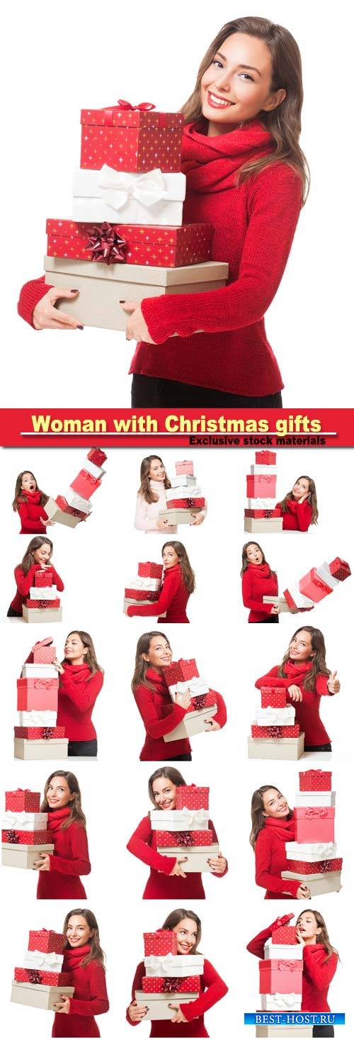Cheerful woman with Christmas gifts